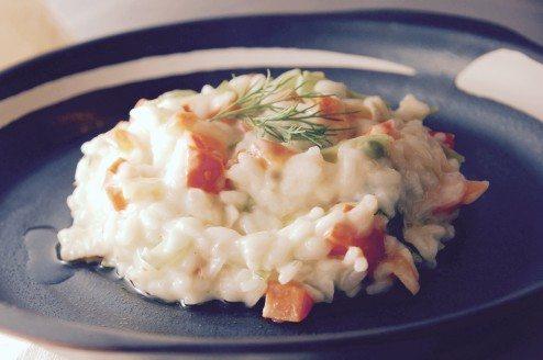 risoto de brie e legumes