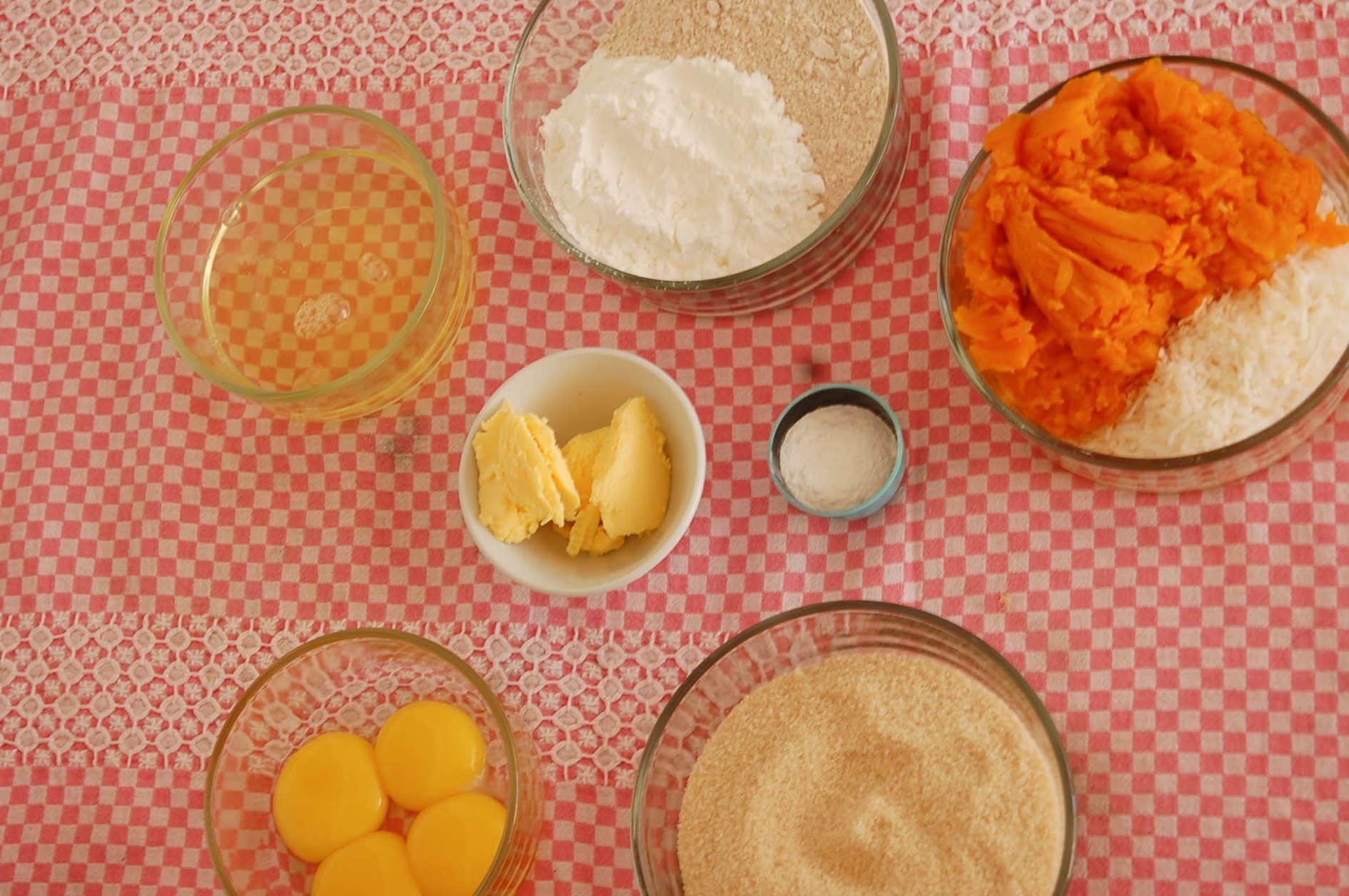 Ingredientes Bolo Integral de Abobora com Coco