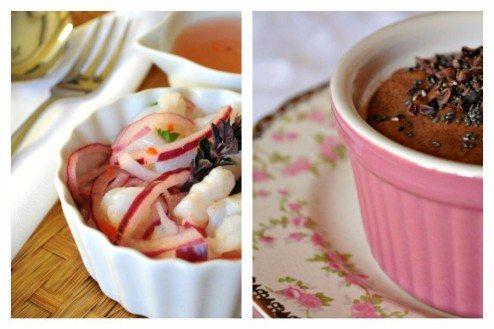 receita de ceviche e um sorvete super light de cacau
