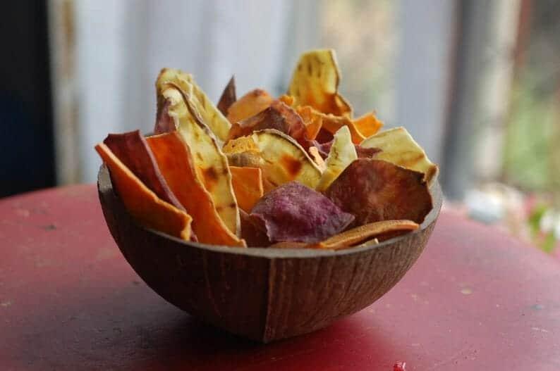 chips de batata doce deliciosos