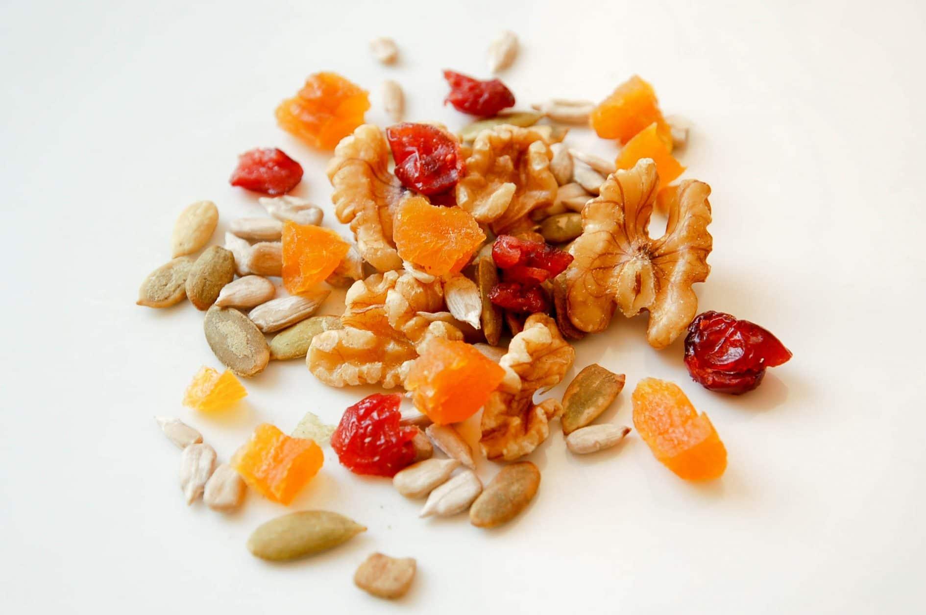 sementes e castanhas para o lanche