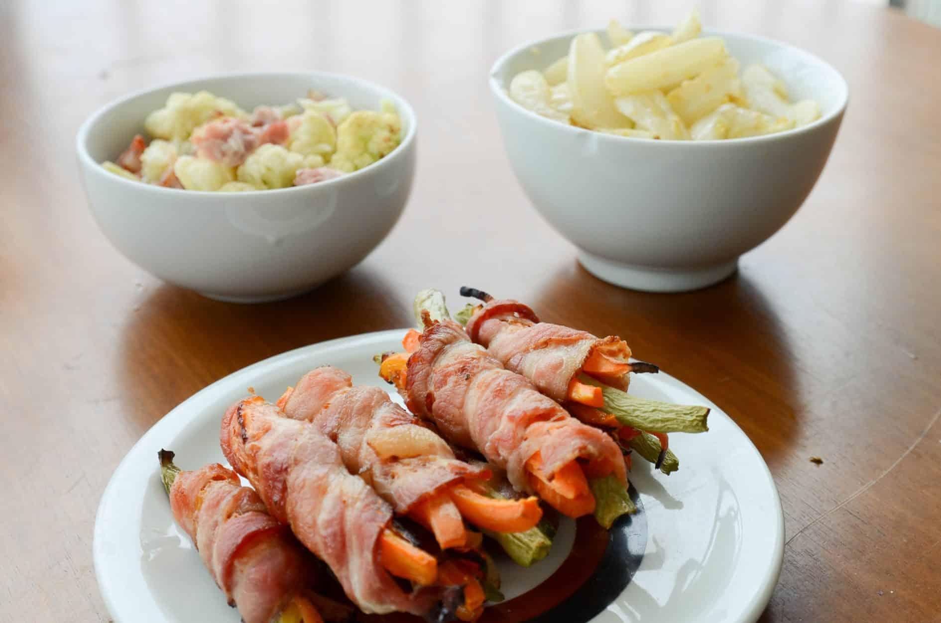 receita de vegetais envoltos em bacon assados