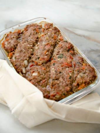 Receita facil de quibe de forno (prato que pode ser congelado e dois tipos diferetes de apresentação)