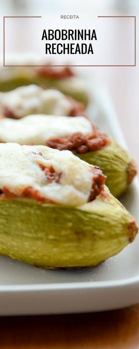 Receita de abobrinha recheada com carne cremosa e coberta por queijo