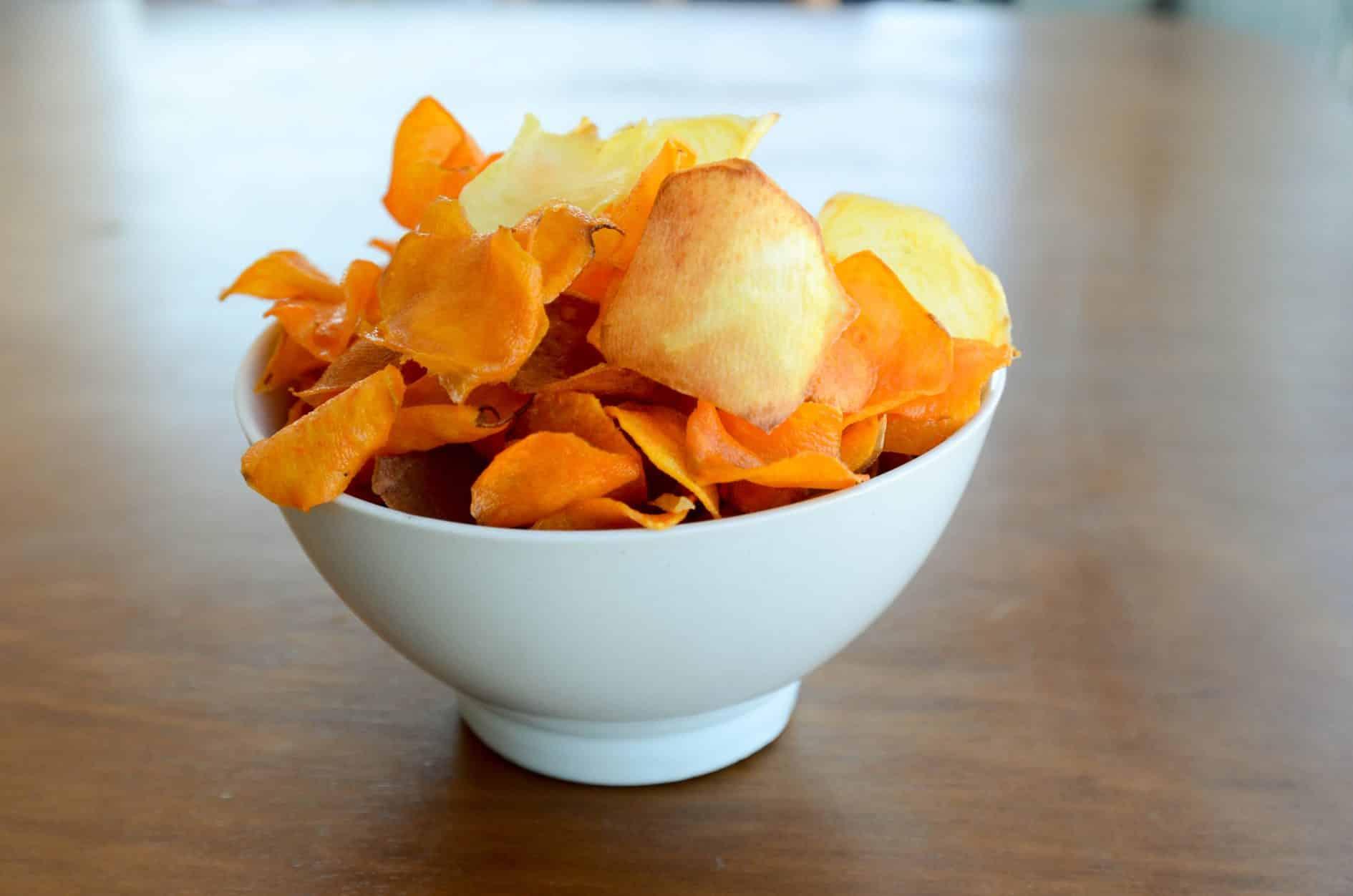 receita fácil de batata doce chips