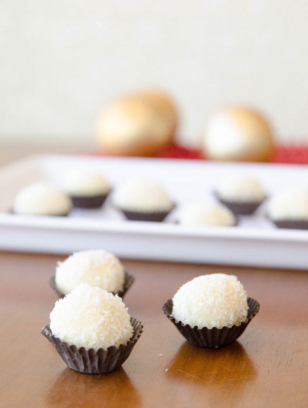 receita de trufa de chocolate branco com coco