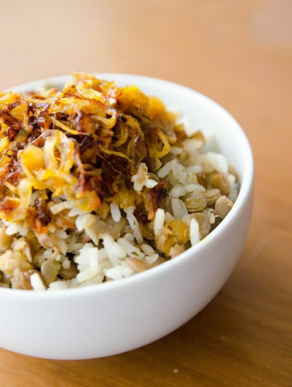 arroz com lentilha e cebolas da sorte!