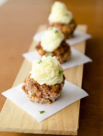 receita de cupcake salgado de carne moída com purê de batatas