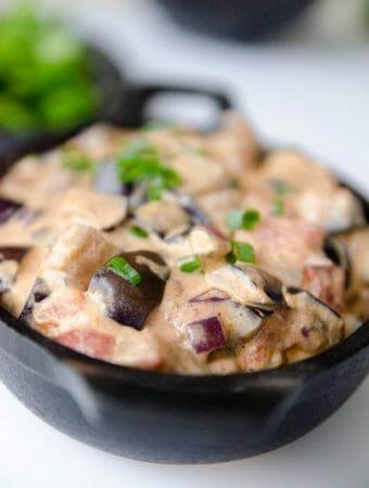 Strogonoff de berinjela - receita vegetariana