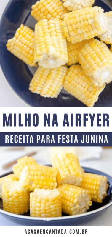 Milho verde cozido na airfryer