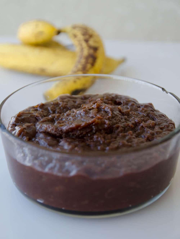 receita de doce de bananas maduras e chocolate