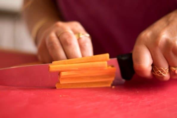 cenoura para recheio de sushi vegano