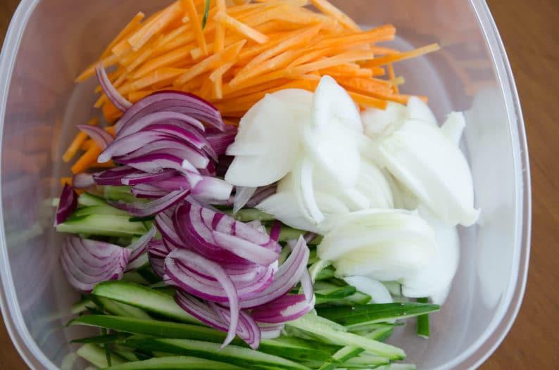 ingredientes para preparação do picles