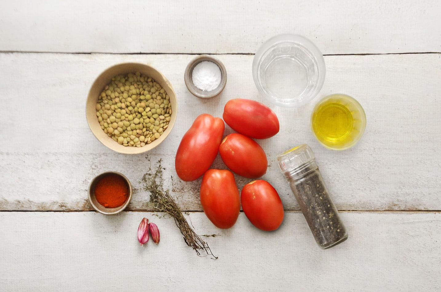 ingredientes para a bolonhesa vegana