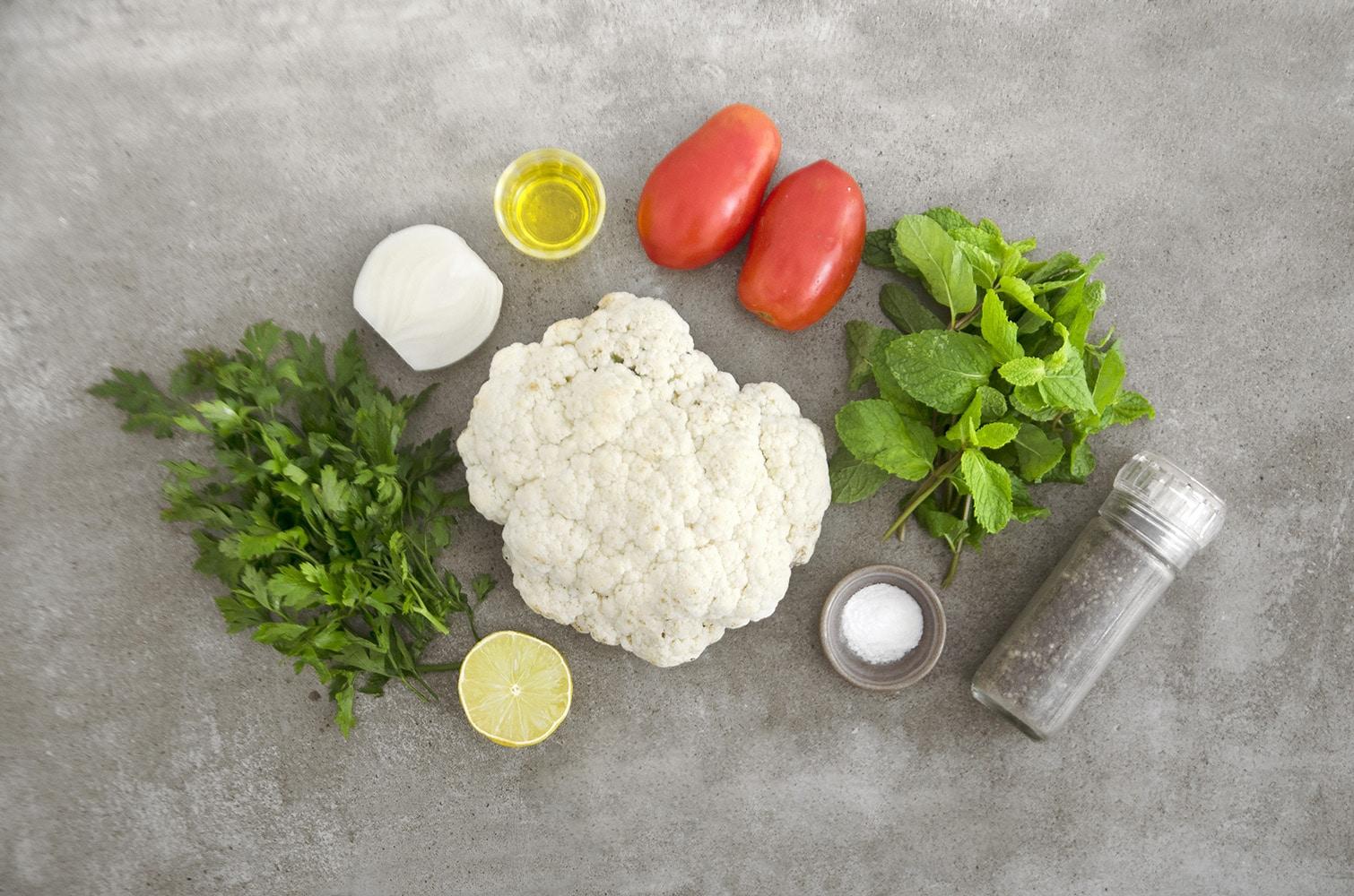 ingredientes para tabule de couve flor
