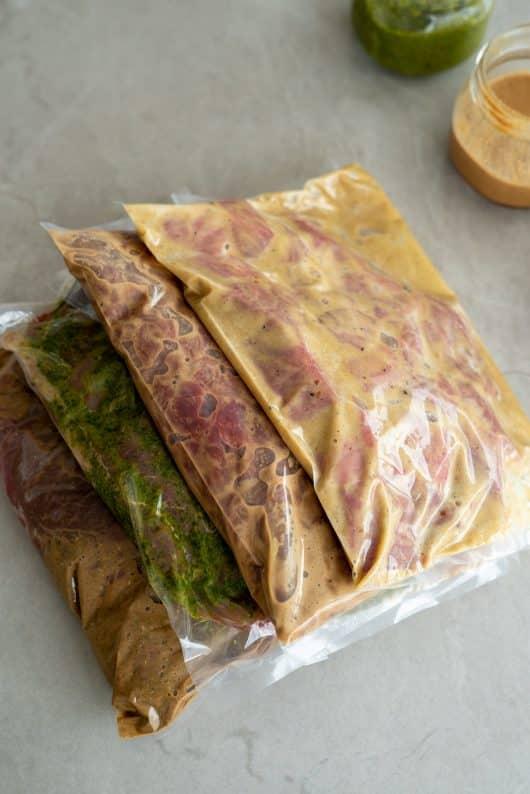 como fazer marinadas para carne (marinada de café, carne temperada com chimichurri, marinada de café, marinada de aceto balsamico)