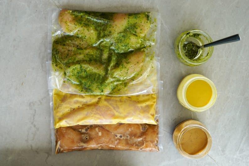 3 receitas de marinada de frango (teriaky, mostarda e mel e pesto)
