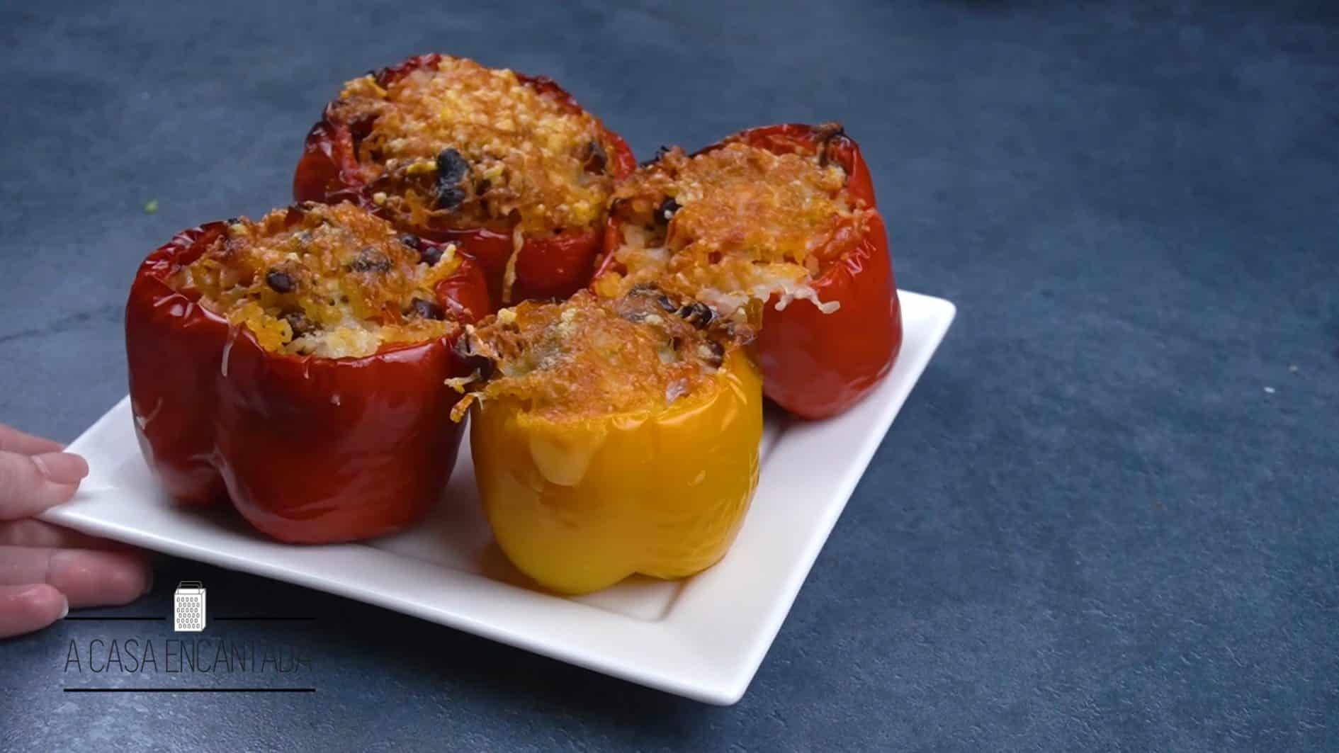 pimentão recheado na airfyer - receita vegetariana