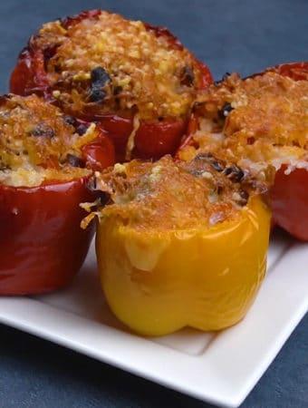 como fazer pimentão recheado na airfryer - receita vegana